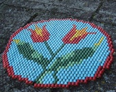 Beaded Red Tulip Mat