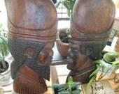 Vintage Carved Tropical Wood Tribal Warriors