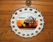 Vintage Souvenir Reno Nevada Plate Cowboy and Horse Silhouette