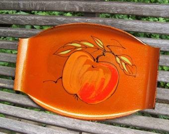 Vintage Lacquerware ORANGE Tray fruit or vegetable