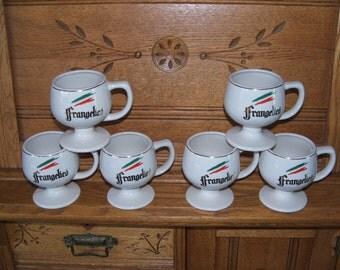 Set of 6 Frangelico Pedestal Mugs Advertising Italian Liqueur