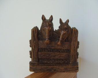 Vintage Wood Composite Horses Bookend