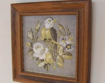 Old Framed Print Faux Cross Stitch Bird and Flowers