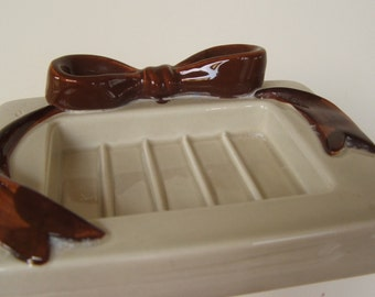Vintage Ceramic Soap Dish with Brown Bow
