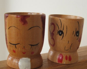 Sleepy and Wide Eyed set of wood Egg Cups