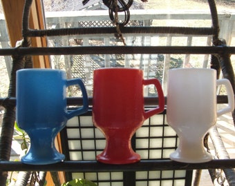Set of 3 vintage Red White and Blue Milk Glass Mugs