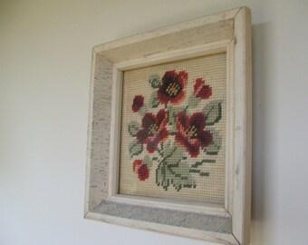 Shabby Chic Framed Needlework Flowers