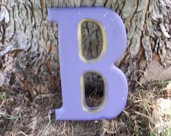 Vintage Purple Plaster Monogram Letter B
