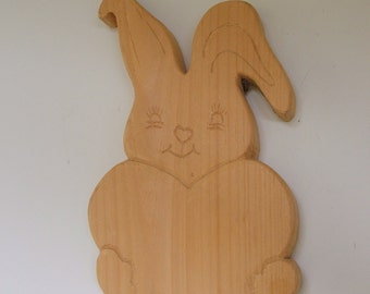 Wood Bunny with Heart