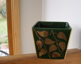 Gorgeous Green with gold leaves California Pottery planter flower pot