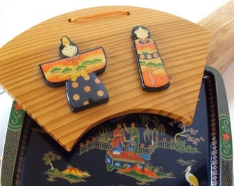 Asian Theme Daher Tray and wooden wall hanging