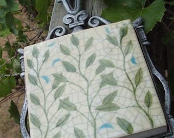 Vintage Leafy Trivet Ceramic Tile and Metal