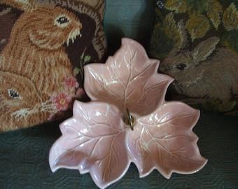 Vintage Ceramic Pink Leaf Serving Dish Tray with Handle