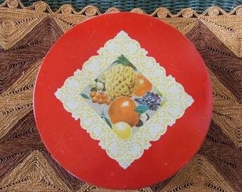 Vintage Fruit Theme Fruitcake Tin