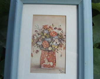 Vintage Framed Still Life with Unicorn Vase