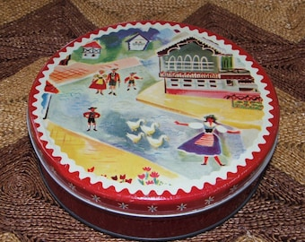 Vintage Swiss Village Scene Shabby Tin