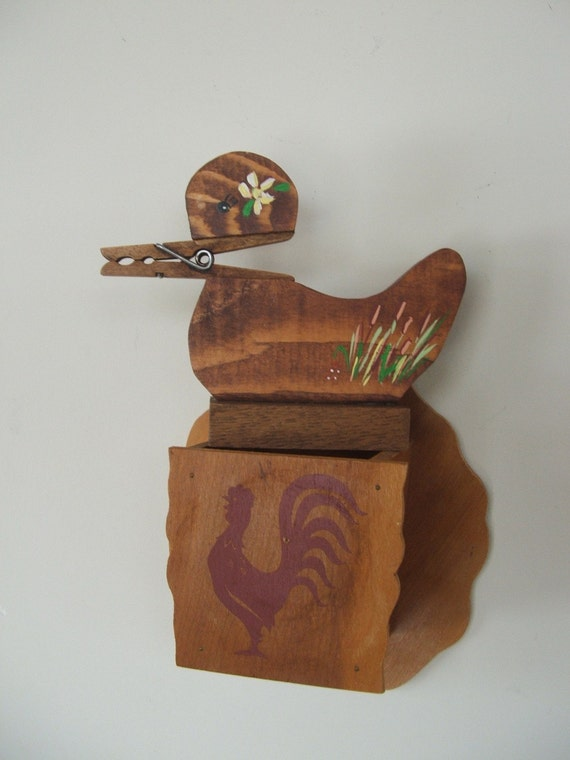 Rooster Wall Pocket and Bird Note Holder