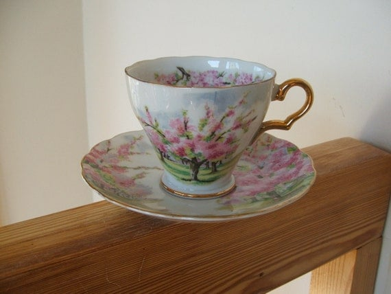 Vintage Princess China Cup and Saucer with Cherry Blossom Motif