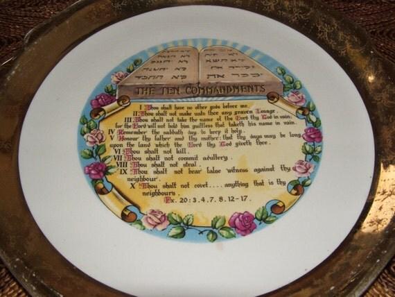 Vintage Ten Commandments Plate