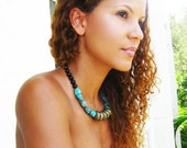 Tribal Turquoise Midnight Statement Necklace