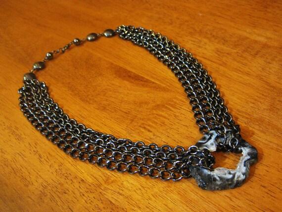 Heavy Metal Hematite Geode Statement Necklace