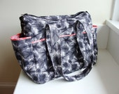 Diaper Bag Zippered XL Size--- Waterflower --- Custom Made to Order