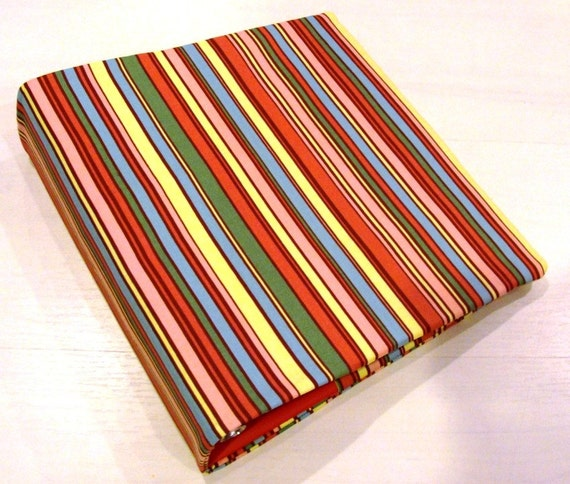 2 Inch 3 Ring Binder Cover Slipcover Polly Stripe Fabric
