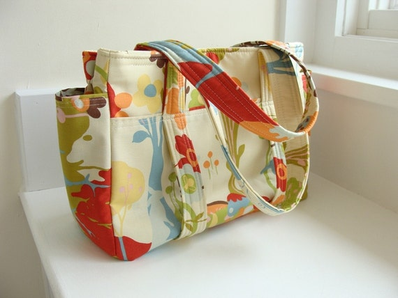Diaper Bag Ultimate Style --- Crafted from fabric which you supply --- 14 Pockets, Key Fob, Sippy Cup Bands, Stroller Straps