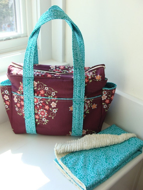 Custom Ultimate Diaper Bag with Zippered Top and Changing Pad
