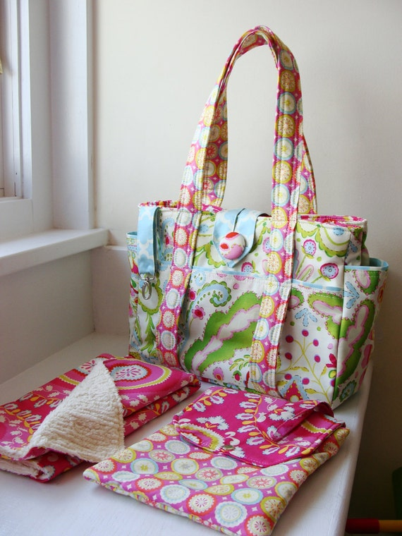 Ultimate Diaper Bag Set --- Crafted from your choice of designer fabric