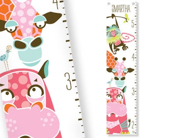 Personalized Growth Chart Safari (Pink)