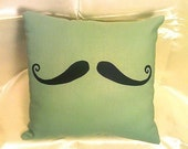Stache Pillow-Handlebar Moustache Pocket Pillow-Minty Green-FREE HOLIDAY SHIPPING