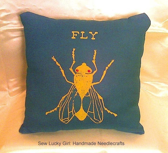 Holiday SALE-Only 1 Left-Hipster Super Fly Throw Pillow-Beaded Eyes-School Bus Yellow and Hunter Green Linen-Great for Holiday, Christmas