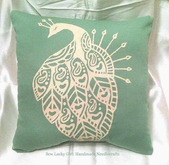 Peacock Pillow-Minty Sage Green and Buttery Ivory Yellow-Retro Hand Silkscreened Pillow