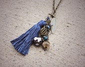 Blue tassel charm necklace
