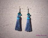 Blue belle tassel earrings