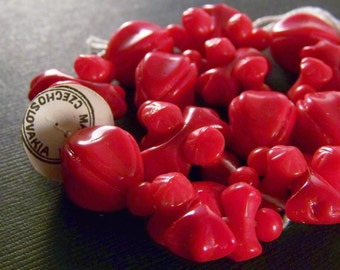 Vintage Czech Red Berry Glass Beads-Full Strand-Last One