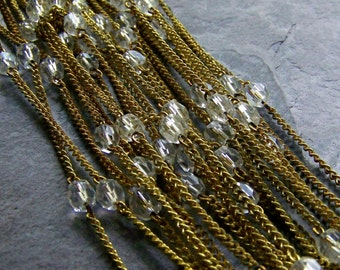 Vintage Chain-Vintage Japanese Faceted Glass And Brass Chain-By The Foot
