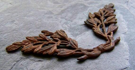 15% Off Storewide Sale-Vintage Solid Brass Twin Leaf Stamping-1