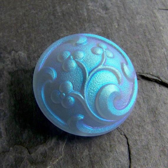 30% Off Black Friday/Cyber Monday Sale-Czech Glass Button-Luminous Frosted Blue AB Floral Czech Glass Button-1