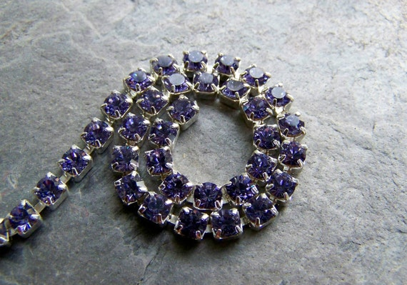 30% Off Black Friday/Cyber Monday Sale-Vintage Chain-Vintage Tanzanite Swarovski Crystal Chain-By The Foot