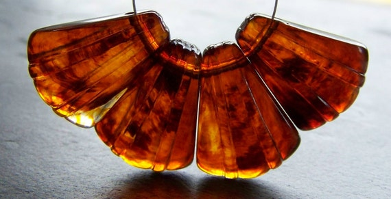 Reserved Listing for Jamie-Beads-Vintage Beads-Vintage Lucite Tortoise Shell Fluted Fan Briolettes-16