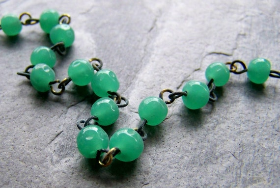 Vintage Chain-Vintage Japanese Jade Green Glass Chain-By The Foot