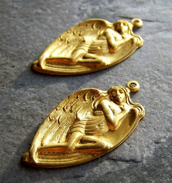 Reserved Listing for Jo-See Store Announcement-Vintage Beads-Vintage Brass Angel Pendants-12