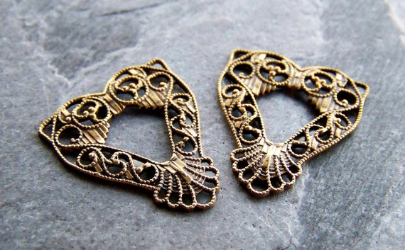 Reserved Listing for Laura-Vintage Brass Filigree Heart Charms-8