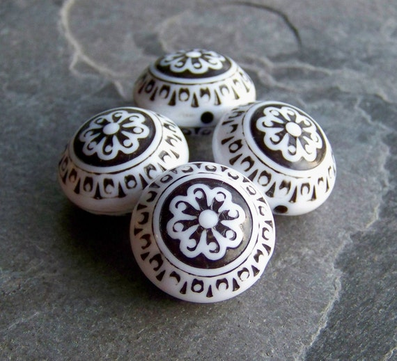 Vintage Beads-Vintage Lucite Beads-Vintage Jet & White Etched Floral Lucite Saucers-4