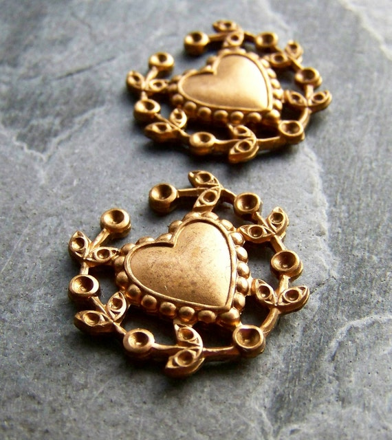 Sale-See Store Announcement-Vintage Brass Stamping-Vintage Brass Heart Stamping with Rhinestone Settings-2