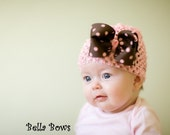Kate- Pink Infant Crochet Beanie With A Sweet Brown Boutique Bow With Pink Polka Dots