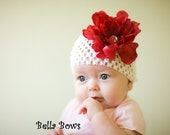 SUPER SALE\/GIVEAWAY- Kate- White Infant Beanie With Beautiful Red Peony Flower Hair Clip