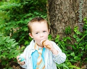 Drew Baby- Blue\/Orange Oxford Stripe Wider Necktie Or Stacked Clip On Bow Tie For Boys....You Choose